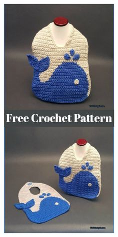 The Blue Whale Baby Bib Free Crochet Pattern and Video Tutorial