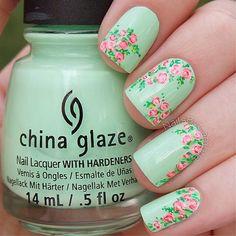 New Rose Nail Art Designs of Women 2016 Mint Green Nails, Green Nail Art, Rose Nail Art, Floral Nail Art, Rose Nails, Flower Nails, Mint Nails, Manicure, Gel Nails