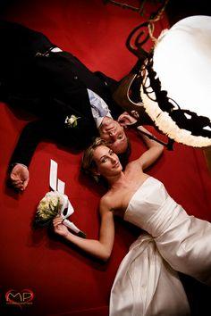Wedding in Italy / Bride & Groom on a billiard table