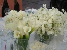 Varying white flowers for table (plus some color. Bougainvillea!)