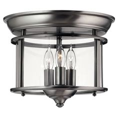 Gentry Large Pewter Flush Mount Ceiling Light Hinkley Flush Mount Flush & Semi Flush Light