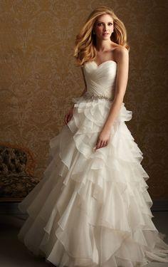 Modest Court Train Strapless Sleeveless Chiffon Princess Wedding Dresses