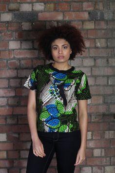 African Print Tshirt  Big Print  African  by FeatherTreeGirls, £28.00
