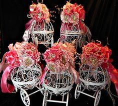 Cinderella carriage Fairy tale Wedding, Bridal shower centerpieces Birthday wedding pinks Birthday party and baby shower centerpiecets , on Etsy, $275.00