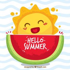 Hello summer background with with cute caricature of the sun Free Vector Summer Wallpaper, Summer Design, Drawing Challenge, Summer Time, Free Summer, Summer Sun, My Sunshine, Cute Drawings, Caricature