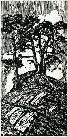 Gustav Vigeland, woodcut  trees--black and white