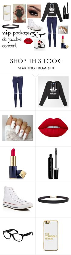 """V.I.P. at Jacob's concert"" by duhitsemma21 on Polyvore featuring 7 For All Mankind, adidas, Lime Crime, Estée Lauder, Marc Jacobs, Converse, Humble Chic, Ray-Ban, BaubleBar and concert"