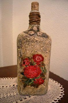 Como Decoupage No frasco de vidro com Técnica Pizzi Goffre. Mesma técnica garrafa diferente 2
