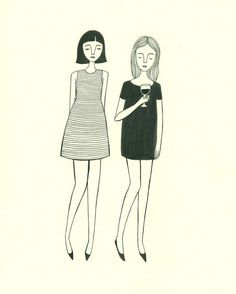 friends and wine, drawing, illustration, fashion, girls