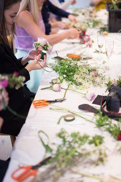 Flower Crown workshop, hen party. Flower workshop by: http://www.missvictoriasfloralemporium.co.uk/ Photography by: http://www.unlimitedbyjk.com