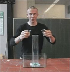 "Also called the ""Marshmallow Experiment,"" the iodine ion from potassium iodide catalyzes the decomposition of hydrogen peroxide. When this occurs, oxygen gas rapidly forms. In the GIF you see here, soap and food colouring are also added, which traps the oxygen as it attempts to escape. The result is a foam snake that looks like an elephant's trunk or toothpaste."
