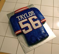 NY Giants L.T. Cake............... might have to make one for my brother except TN Titans instead of NY Giants