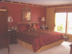 Burgundy & Gold Bedroom, This is our newly decorated Master Bedroom.  I did the gold walls with ragging., , Bedrooms Design