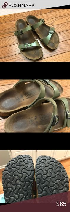 Metallic silvery green Birkenstocks in 38 (L7) Metallic pale silvery green Birkenstocks in 38 (L7). I've had these for a while but haven't worn them much. Tread on the bottom is still in great condition (see photos). Birkenstock Shoes Sandals