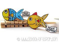 Lavoretti con i bambini: come fare i pesci d'aprile a molletta