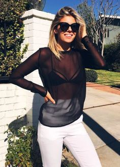 40 Stylish Ways To Wear Sheer Shirts - EcstasyCoffee