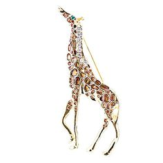 Fashion Crystal Rhinestone Animal Giraffe Design Charm Brooch Pin Gold Brown -- You can get more details at…