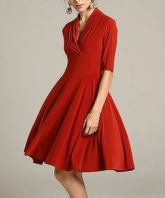 Another great find on #zulily! Red Fit & Flare Dress - Women & Plus #zulilyfinds