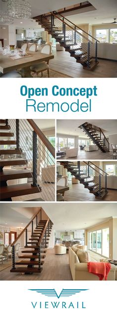 Viewrail FLIGHT transformed this once traditional staircase into a modern masterpiece. Say goodbye to wooden balusters and enclosing walls––and hello to white oak treads, sleek rod railing, and a design that looks lighter-than-air. #design #interiordesign #DIY #renovation #Viewrail #ViewrailFLIGHT #FloatingStairs #FloatingStaircase #stairs #staircase #architecture #railing #rodrailing #modern #contemporary #coastal #diningroom