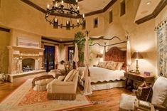 Utimately, this is what I want the master bedroom to look like. Old world,tuscan,mediterranean decor Mediterranean Bedroom, Mediterranean Homes, Mediterranean Architecture, Tuscan Decorating, Interior Decorating, Interior Design, Tuscan Bedroom, Mansion Bedroom, World Decor