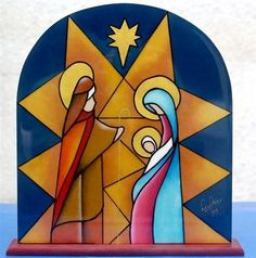 vitrales navideños de papel - Buscar con Google Christmas Nativity Scene, Christmas Pictures, Christmas Art, Christmas Projects, Nativity Scenes, Stained Glass Quilt, Stained Glass Christmas, Nativity Crafts, Christmas Illustration