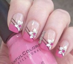 Nails design summer flowers french tips 50 Super ideas French Manicure Nail Designs, French Pedicure, Valentine's Day Nail Designs, French Manicure Nails, French Tip Nails, Manicure And Pedicure, Nails Design, Manicure Ideas, Summer French Nails