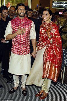 Bollywood couple Deepika Padukone and Ranveer Singh's Mumbai wedding reception Mens Indian Wear, Indian Groom Wear, Indian Men Fashion, Indian Bridal Fashion, Indian Attire, Indian Outfits, Wedding Kurta For Men, Wedding Dresses Men Indian, Indian Wedding Wear