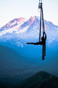 Aerial dance in front of Mount Rainier, WA #aerial #aerialist #aerialsilks #aerialhammock