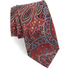 Men's Nordstrom Men's Shop Paisley Silk Tie (46.355 CLP) ❤ liked on Polyvore featuring men's fashion, men's accessories, men's neckwear, ties, red, mens silk ties, mens paisley ties and mens ties