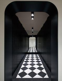 Stone Bench, Stone Slab, Glass Wall Lights, Ceiling Lights, Luxury Interior, Interior Architecture, Sofitel Hotel, Tinted Mirror, Black Toilet