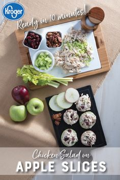 Chicken Salad on Apple Slices These sweet and crunchy apple slices are the perfect appetizer for your fall get together! Source by hickmancounty Salad Recipes, Keto Recipes, Cooking Recipes, Healthy Recipes, Grilling Recipes, Healthy Snacks, Healthy Eating, Apple Slices, Salads
