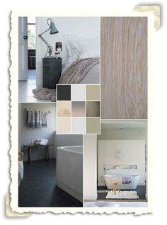 Interieur idee met de kleuren wit, taupe en grijs.