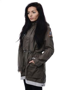 Parajumpers Army Green Thelma Long Parka Jacket   Accent Clothing