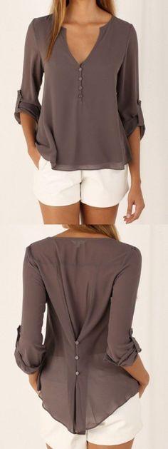 blouse v neck button detail dip back blouse - choies.com