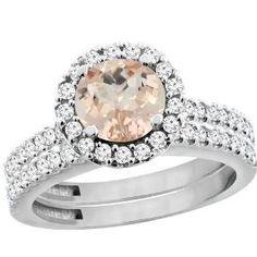Rosamaria G Frangini | Fashion Jewellery Modern | White Gold Morganite Halo Diamond Engagement Ring Bridal Set