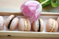 Macarons with chocolate ganache or lemon cream