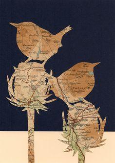Vintage paper map art