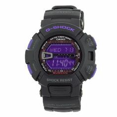 Casio Men's G9000BP-1 G-Shock Mudman Black and Purple Multi-Function Digital Watch Casio. $120.00. Four multi-function alarms; One snooze; Countdown timer. Digital display includes month, day and date. Water-resistant to 660 feet (200 M). Stopwatch; Flash alert; Auto EL. G-Shock mudman dual illuminator black resin case and strap