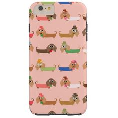 Dachshunds on Pink Tough iPhone 6 Plus Case