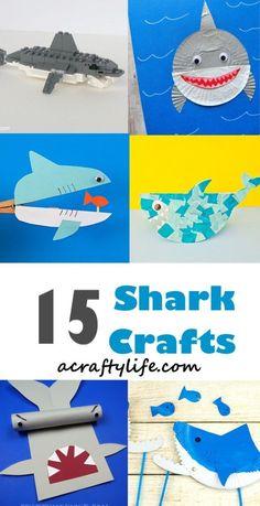 shark kids crafts - crafts for kids- ocean kid crafts - acraftylife.com #preschool