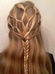Hairstyle for long hair, interesting braid