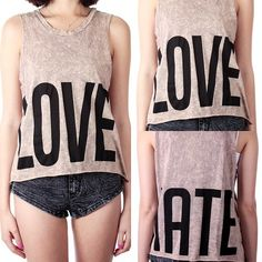LOVE & HATE graphic tank top  $19 Free Domestic Shipping