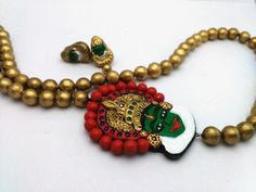 Bhoodhandhara kadhakali Grand Haram Terracotta Jewellery. With matching stud.  Delivery time 10 days from the order date. Grand party wear set Rs.1063/-