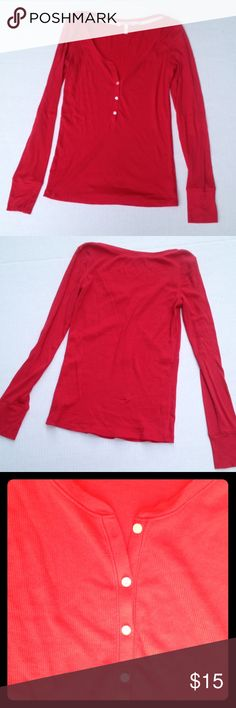 Victoria's Secret button front long sleeve shirt Victoria's Secret scoopneck tissue tee in bright red with four buttons. All buttons are real, none of that faux button business here 😊 Very gently loved- no tears, snags, stains etc. Size S. Feel free to ask questions! PINK Victoria's Secret Tops Tees - Long Sleeve