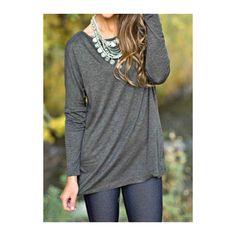 Rotita Dark Grey Round Neck T Shirt (£11) ❤ liked on Polyvore featuring tops, t-shirts, grey, grey long sleeve t shirt, grey t shirt, long sleeve tops, collared t shirt and gray t shirt