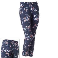 LC Lauren Conrad Floral Ankle Jeans