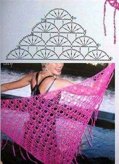 Blog Crochet, Poncho Au Crochet, Crochet Shawl Diagram, Crochet Lace, Crochet 2017, Shawl Patterns, Crochet Patterns, Crochet Triangle, Diy Scarf