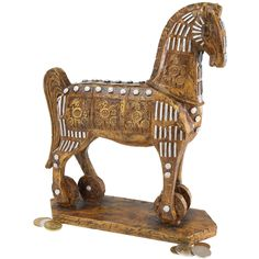 Introduce ancient history into your home with the legendary Trojan Horse replica. Find more ancient Greek sculptures at Design Toscano. Resin Sculpture, Horse Sculpture, In China, Animal Statues, Animal Sculptures, Ancient Greek Sculpture, Greek Gifts, Trojan Horse, Wooden Horse