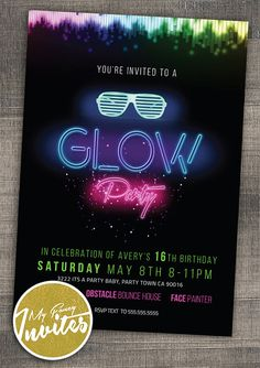 Glow Party Custom Glow Birthday Party by MyFancyInvites on Etsy