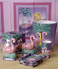 @Overstock - Decorate your bathroom with the fun styles of this matching pink flamingo accessories set.    Set includes:    Ceramic waste basket  Lotion pump  Ceramic tissue box  ...http://www.overstock.com/Bedding-Bath/Flamingo-Bathroom-Accessories-Set/1622779/product.html?CID=214117 $59.99